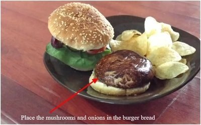 Place mushrooms and onions in the burger bread