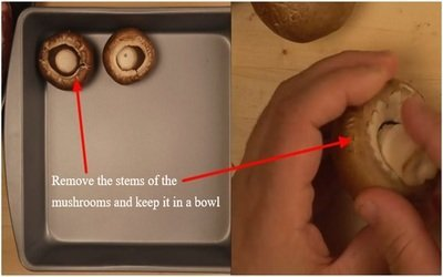 Remove the stems of the mushrooms and keep it in a bowl