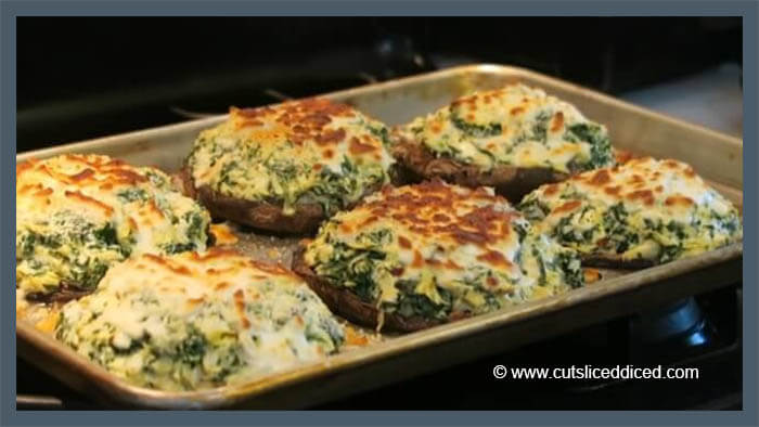 Stuffed Portobello Mushrooms With Spinach and Artichoke recipe