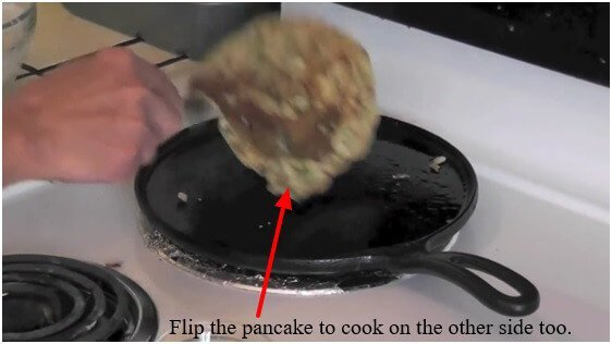 Flip the pancake to cook on the other side too