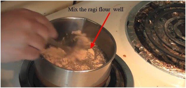 Mix the ragi flour well