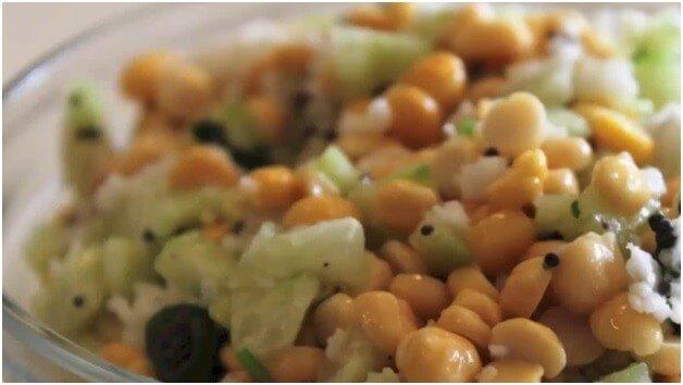 split chickpea and cucumber salad