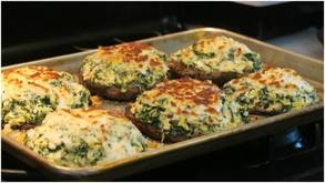 Stuffed Portobello Mushrooms With Spinach and Artichoke